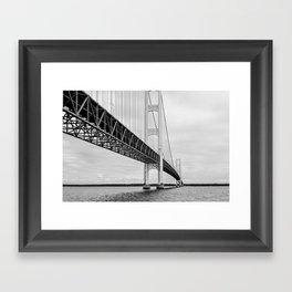 Mackinac Bridge, black and white photography Framed Art Print