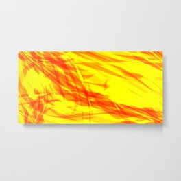 Gold and smooth sparkling lines of orange ribbons on the theme of space and abstraction. Metal Print