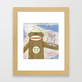Sock Monkey 270: Pi Monkey and Infinity Owl Framed Art Print