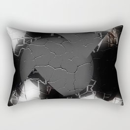 Modern Cracked Texture Multi Pattern Black and White Design Rectangular Pillow