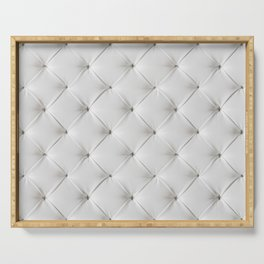 White Tufted Serving Tray