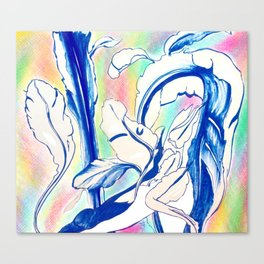 Plant in Blue Marker - Leaf of Life Miracle Leaf - Rainbow Colorful 2 Canvas Print