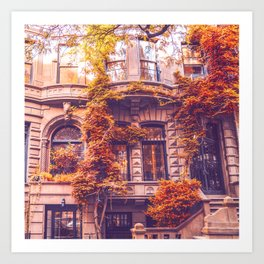 Dressed Up in Autumn - New York City Brownstones Art Print