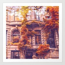 Dressed Up in Autumn - New York City Brownstones Art Print