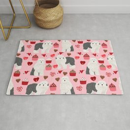 Old English Sheepdog valentines day hearts cupcakes pattern pet portrait dog art gifts love Rug