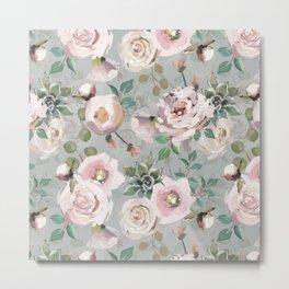 Hand Drawn Pastel Guache Claude Monet Botanical Flower Garden Metal Print