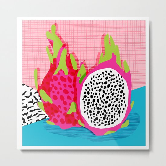 Hard Core - memphis throwback retro neon tropical fruit dragonfruit exotic 1980s 80s style pop art Metal Print