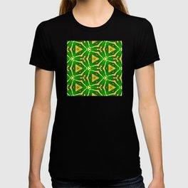 Abstract geometric infinite celestial multi shaped burst pattern design in multicolors T-shirt