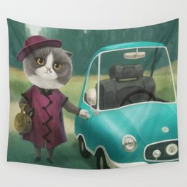 Where are you going kitty? Wall Tapestry