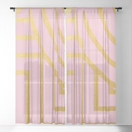 Line Art Pattern in Gold Sheer Curtain