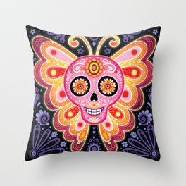 Sugar Skull Butterfly Art - Psychedelic Day of the Dead Skull Art by Thaneeya McArdle Throw Pillow