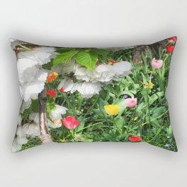 Cherry Blossoms and Tulpis Rectangular Pillow