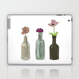 flowers in glass bottles . Pastel colors . illustration . Laptop & iPad Skin