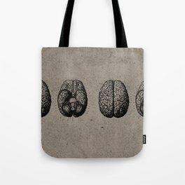 Row o' Brains - Engraving - Vintage - Old Black, White & Brown Tote Bag