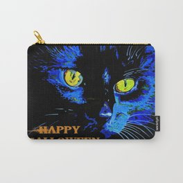 Black Cat Portrait with Happy Halloween Greeting  Carry-All Pouch