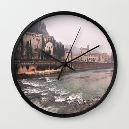 view of Verona on the old brigde Wall Clock