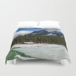 Canoeing in the Mountains Duvet Cover