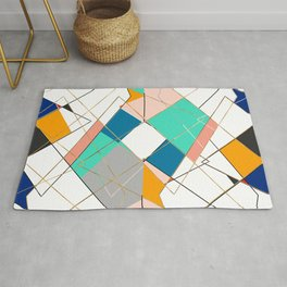 Modern Colorful Abstract Gold Geometric Strokes Rug