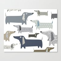 daschund Canvas Prints featuring Weiner Dog Pattern by Taylor Engelsman