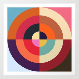 Autumn - Colorful Classic Abstract Minimal Retro 70s Style Graphic Design Art Print