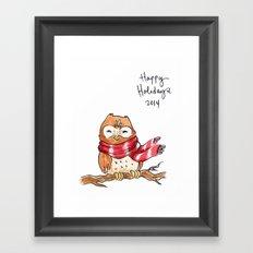 Holiday Card - Happy Hoot Framed Art Print