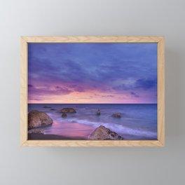 Ocean Beach Dusk Sunset Photography Framed Mini Art Print