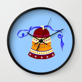 Bell and blue ribbon Wall Clock