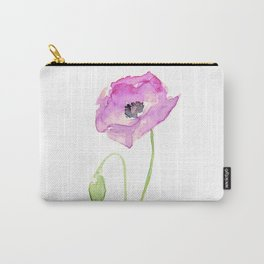 Purple Poppy Floral Watercolor Carry-All Pouch