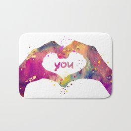 Heart Watercolor Art Print Love Hands Valentine's Day Bath Mat