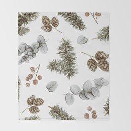 Retro Cozy Winter Cabin Water-colour Pattern Throw Blanket