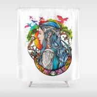 celtic Shower Curtains featuring Celtic elf by Raquel C. Hita - Sednae