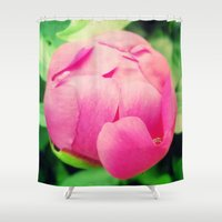 peony Shower Curtains featuring Peony by Magic Emilia