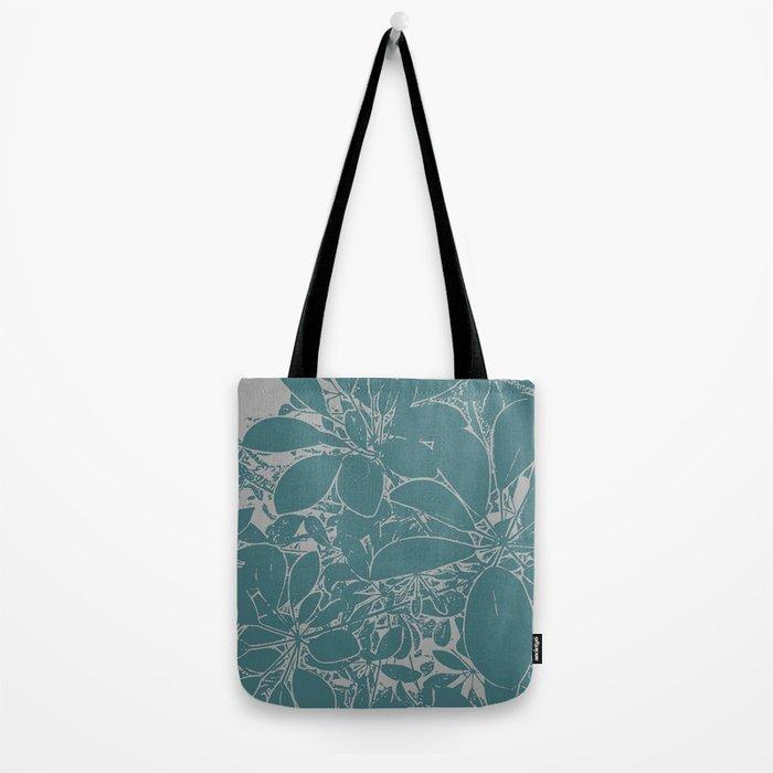 Umbrella Plant In Aqua Tote Bag