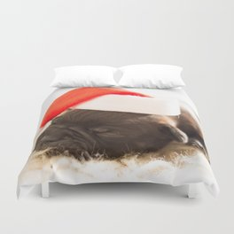 Puppy in Santa Clause Hat Duvet Cover