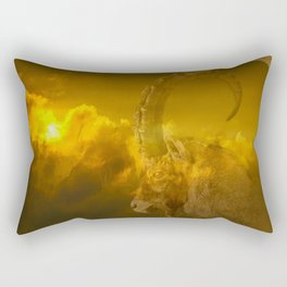 Alpine - Ibex with cloudy sunset background - #Society6 #buyart Rectangular Pillow
