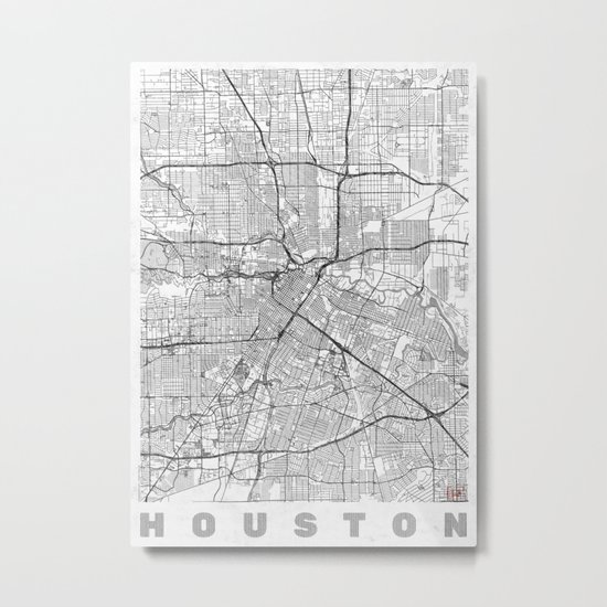 Houston Map Line Metal Print
