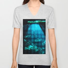 Cave Water With Logo Pattern Unisex V-Neck
