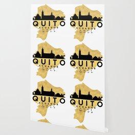 QUITO ECUADOR SILHOUETTE SKYLINE MAP ART Wallpaper