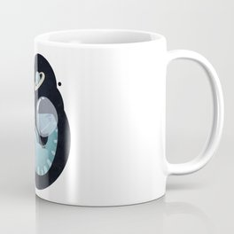 Illustration of a dinosaur t-rex astronaut in space with planets in the black starry sky Coffee Mug