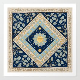 Sun Moon and Stars Celestial Blue Art Print
