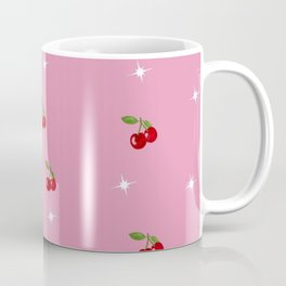 Small cherries decor on a starry pink background Coffee Mug