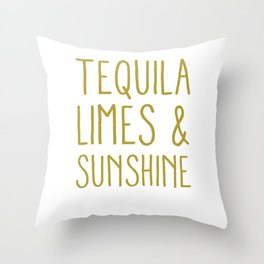 Tequila Limes & Sunshine Funny Cinco De Mayo Holiday Pun Cool Gift Throw Pillow