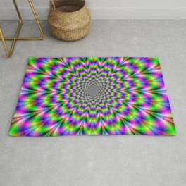 Neon Rosette in Pink Green and Blue Rug