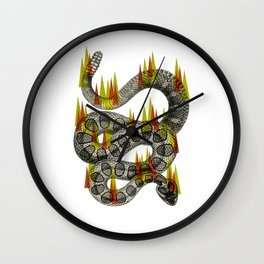 rattlesnake on fire! Wall Clock