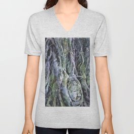Buddha head overgrown by sycamore roots at UNESCO Unisex V-Neck