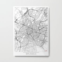 Brussels Map White Metal Print