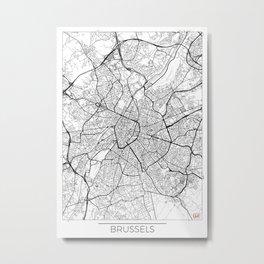 Brussels Map White Metal Print