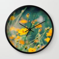 aperture Wall Clocks featuring Orange Cosmos by Laura Ruth