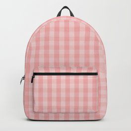 Large Lush Blush Pink Gingham Check Plaid Backpack