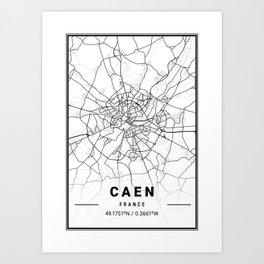 Caen Light City Map Art Print